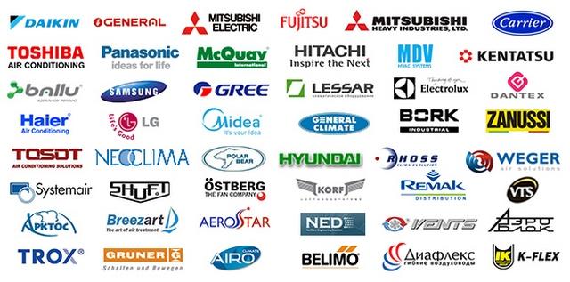 Обслуживаемые производители кондиционеров