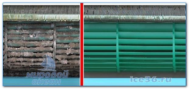 Чистка внутреннего блока, фото до и после